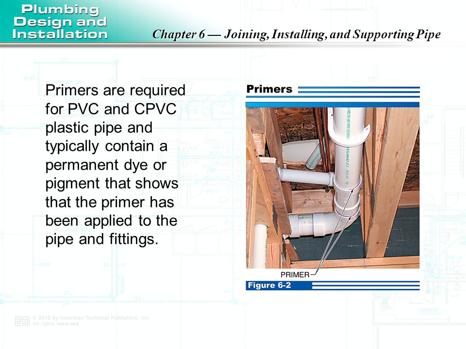 Chapter 6 — Joining, Installing, and Supporting Pipe Solvent cement cure times will need to be adjusted, depending on outside temperature.
