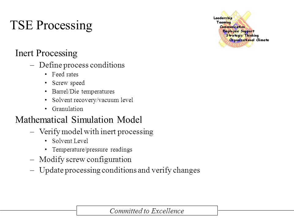 Committed to Excellence TSE Processing Inert Processing –Define process conditions Feed rates Screw speed Barrel/Die temperatures Solvent recovery/vacuum level Granulation Mathematical Simulation Model –Verify model with inert processing Solvent Level Temperature/pressure readings –Modify screw configuration –Update processing conditions and verify changes
