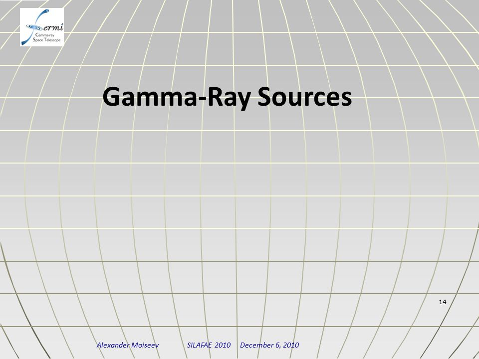 Alexander Moiseev SILAFAE 2010 December 6, 2010 14 Gamma-Ray Sources