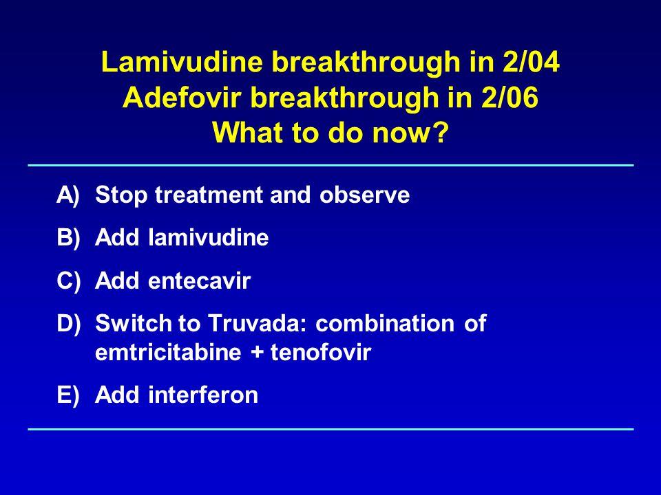 Lamivudine breakthrough in 2/04 Adefovir breakthrough in 2/06 What to do now.