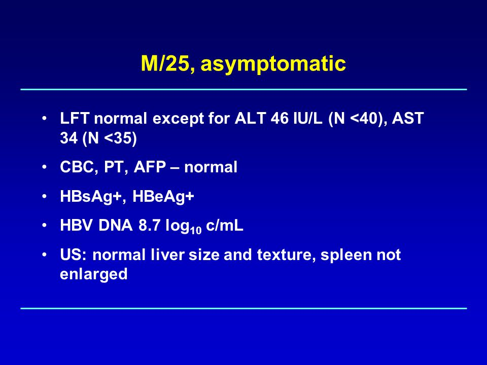 M/25, asymptomatic LFT normal except for ALT 46 IU/L (N <40), AST 34 (N <35) CBC, PT, AFP – normal HBsAg+, HBeAg+ HBV DNA 8.7 log 10 c/mL US: normal liver size and texture, spleen not enlarged