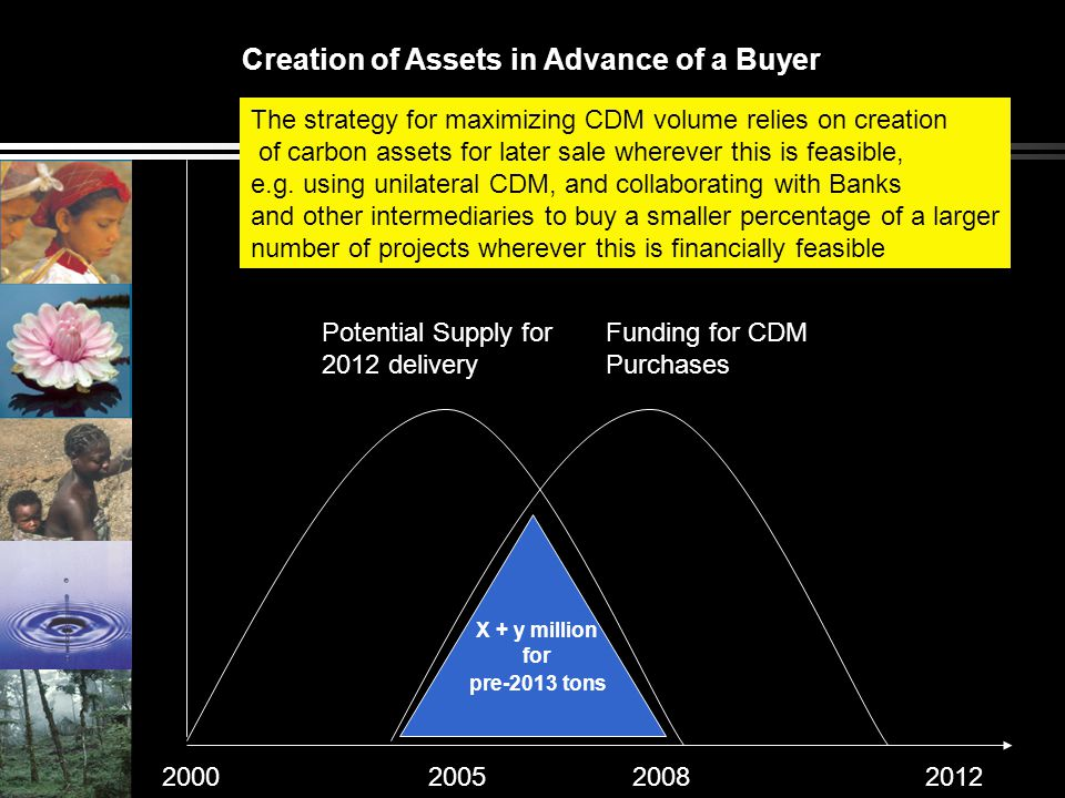 Potential Supply for 2012 delivery Funding for CDM Purchases 2000200520082012 The strategy for maximizing CDM volume relies on creation of carbon asse