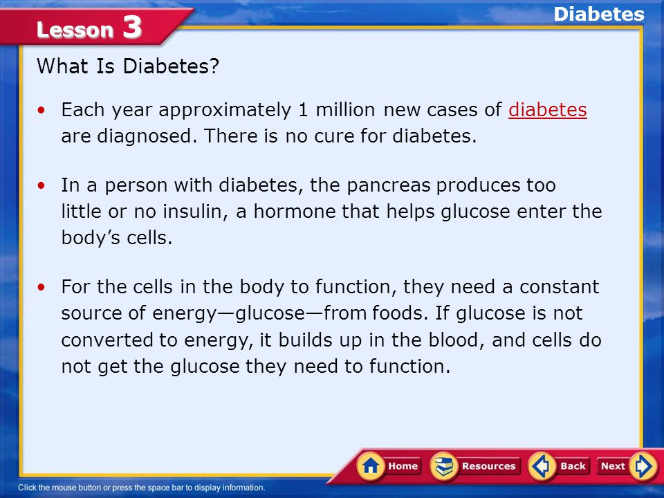 Lesson 3 1.An allergy 2.Osteoarthritis 3.Asthma 4.Diabetes Choose the appropriate option.