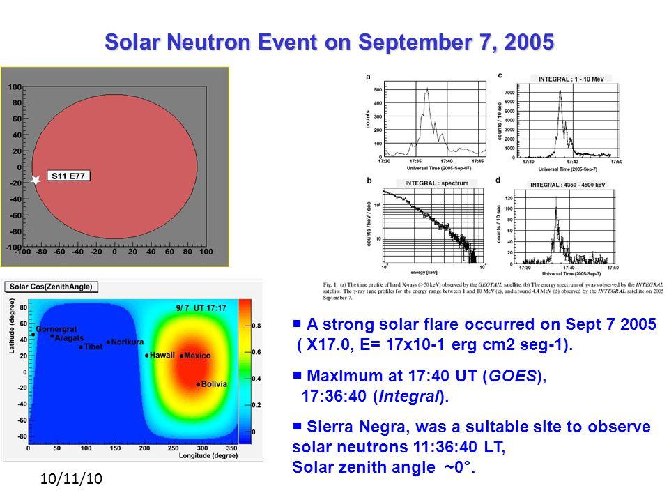 10/11/10 Solar Neutron Event on September 7, 2005 ■ A strong solar flare occurred on Sept 7 2005 ( X17.0, E= 17x10-1 erg cm2 seg-1).