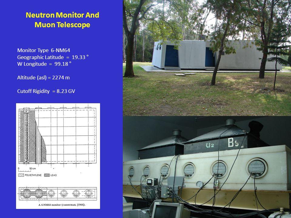 Neutron Monitor And Muon Telescope Monitor Type 6-NM64 Geographic Latitude = 19.33 ° W Longitude = 99.18 ° Altitude (asl) = 2274 m Cutoff Rigidity = 8.23 GV