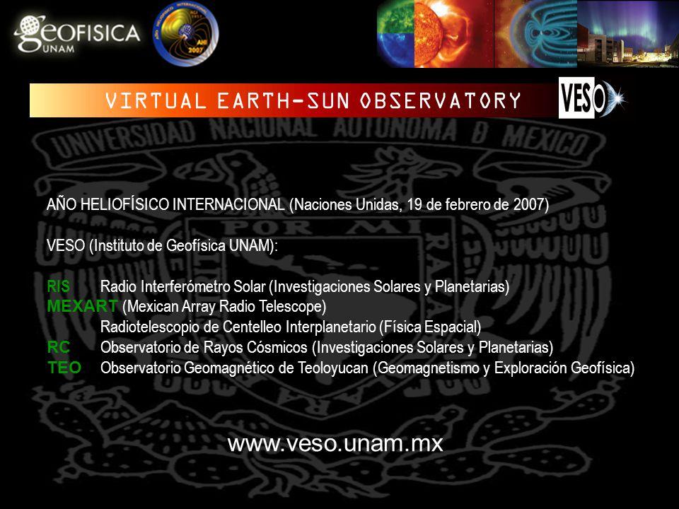 AÑO HELIOFÍSICO INTERNACIONAL (Naciones Unidas, 19 de febrero de 2007) VESO (Instituto de Geofísica UNAM): RIS Radio Interferómetro Solar (Investigaciones Solares y Planetarias) MEXART (Mexican Array Radio Telescope) Radiotelescopio de Centelleo Interplanetario (Física Espacial) RC Observatorio de Rayos Cósmicos (Investigaciones Solares y Planetarias) TEO Observatorio Geomagnético de Teoloyucan (Geomagnetismo y Exploración Geofísica) www.veso.unam.mx