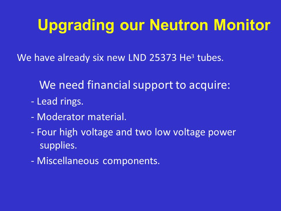 We have already six new LND 25373 He 3 tubes.We need financial support to acquire: - Lead rings.