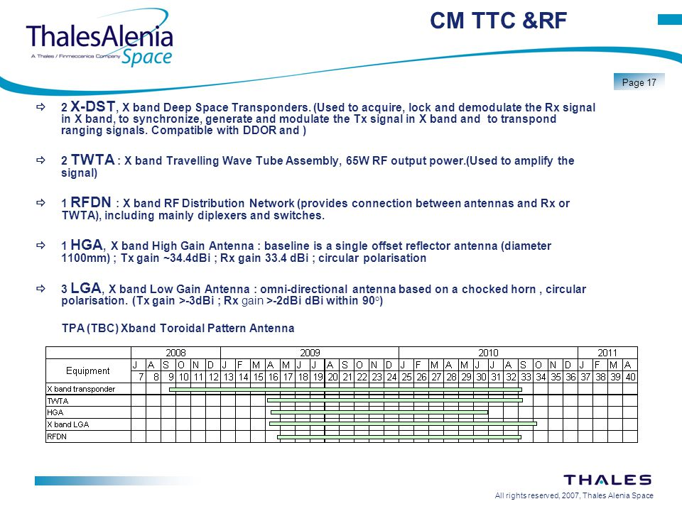 All rights reserved, 2007, Thales Alenia Space Page 17 CM TTC &RF  2 X-DST, X band Deep Space Transponders.
