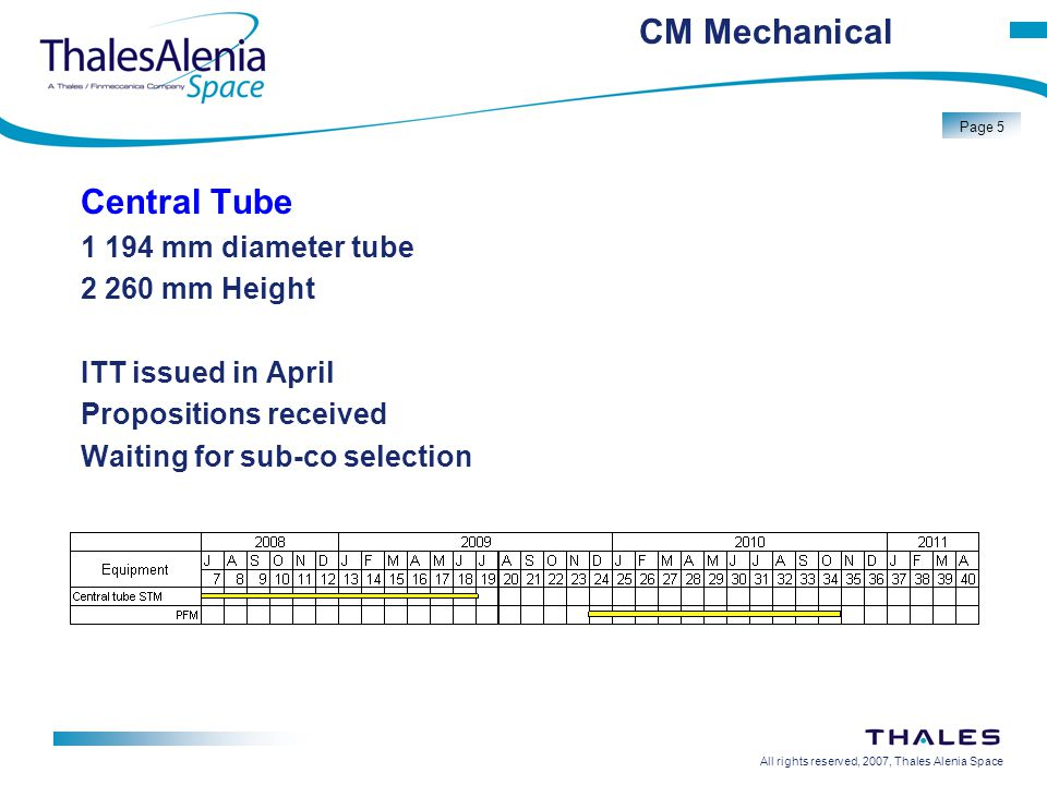All rights reserved, 2007, Thales Alenia Space Page 5 CM Mechanical Central Tube 1 194 mm diameter tube 2 260 mm Height ITT issued in April Propositions received Waiting for sub-co selection