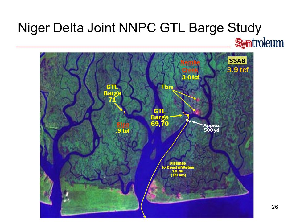 26 Niger Delta Joint NNPC GTL Barge Study Flare S3A8 3.9 tcf GTL Barge 69,70 Distance to Coastal Waters 12 mi (19 km) Approx. 500 yd Nembe Creek 3.0 t
