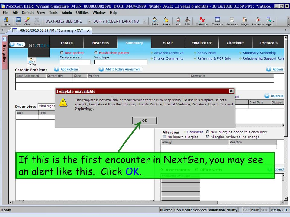 Depending upon office policy, the nurse may document some components of the HPI. Click HPI Detail.