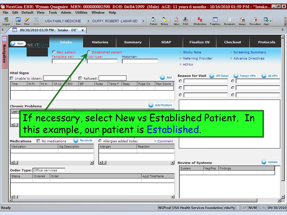 If necessary, select New vs Established Patient. In this example, our patient is Established.