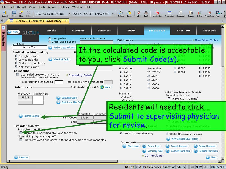 If the calculated code is acceptable to you, click Submit Code(s). Residents will need to click Submit to supervising physician for review.