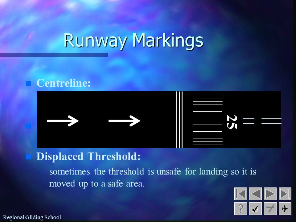 Regional Gliding School Runway Markings n n Centreline: – –white lines in the middle of the runway to mark the centre.