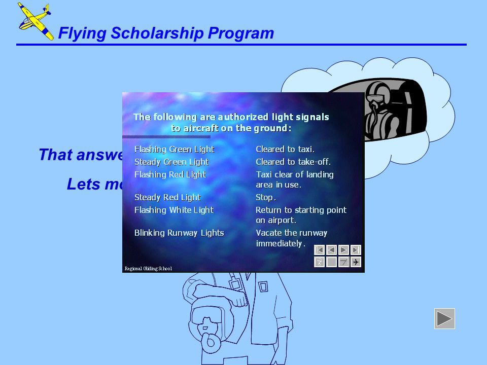 I'm afraid that answer is incorrect Lets try again... Flying Scholarship Program
