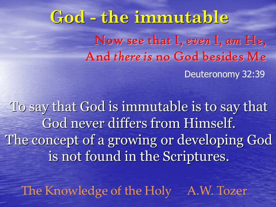 To say that God is immutable is to say that God never differs from Himself.