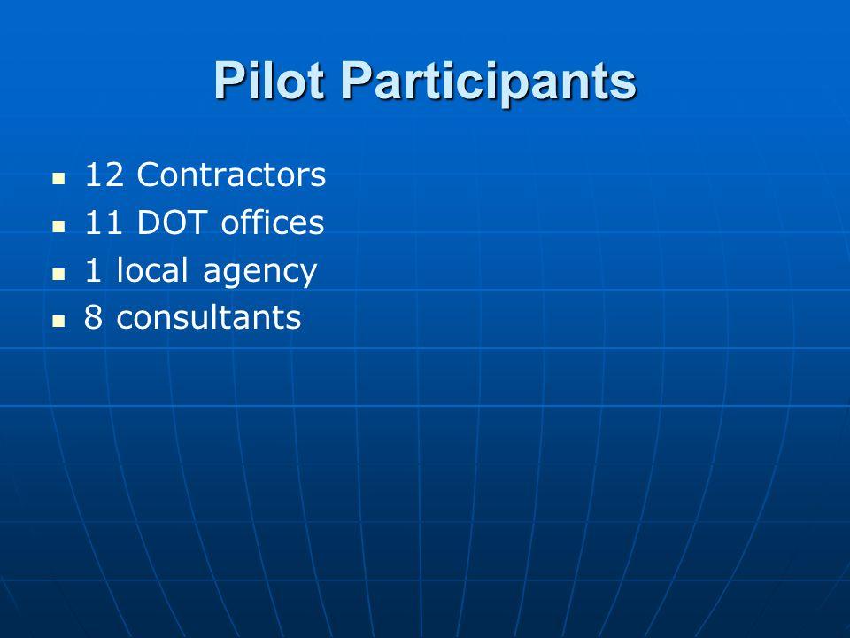 Pilot Participants 12 Contractors 11 DOT offices 1 local agency 8 consultants