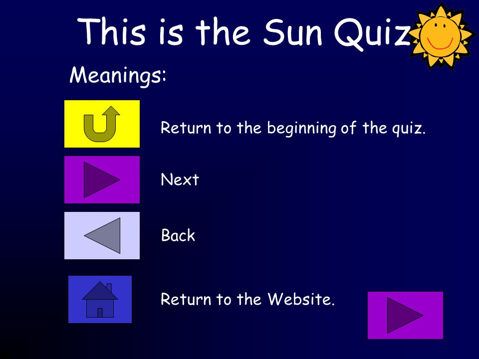 This is the Sun Quiz Return to the beginning of the quiz.