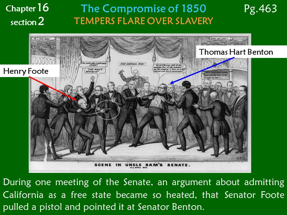 Compromise of 1850 Admitted (added) California as a free state Allowed New Mexico & Utah to decide slavery using popular sovereignty Banned the Slave Trade in Washington, D.C.