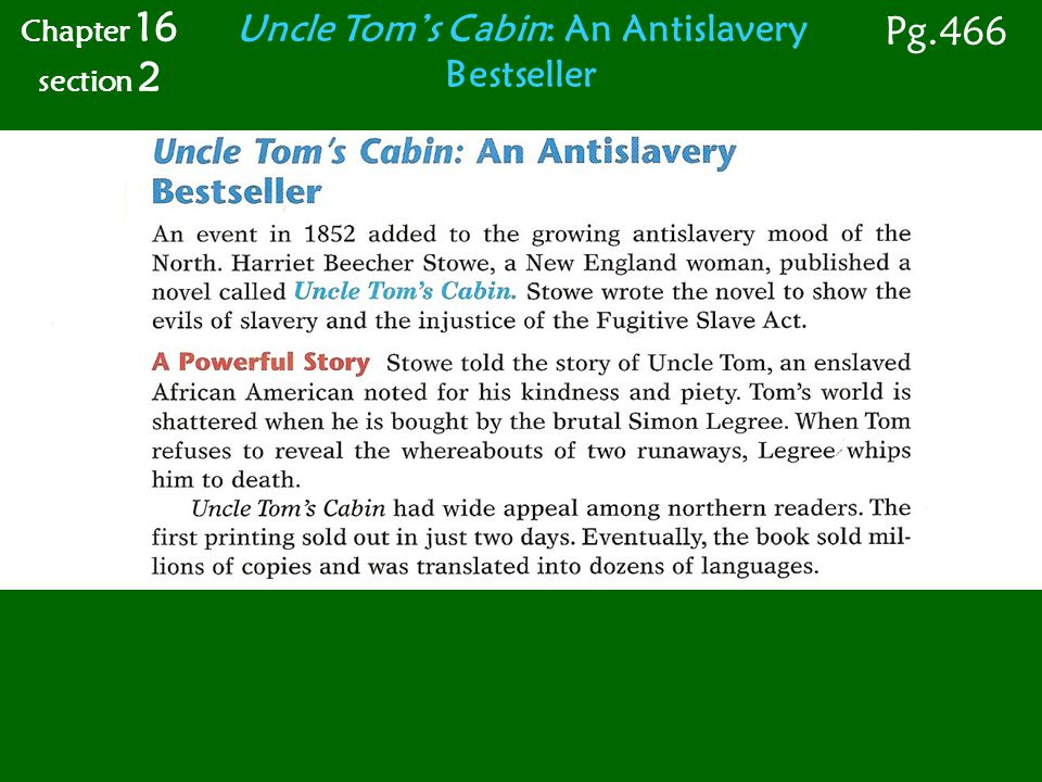 Uncle Tom's Cabin: An Antislavery Bestseller Chapter 16 section 2 Pg.466