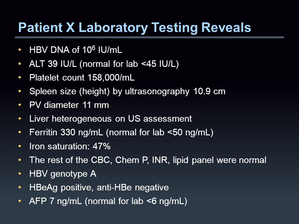 Patient X Laboratory Testing Reveals HBV DNA of 10 6 IU/mL ALT 39 IU/L (normal for lab <45 IU/L) Platelet count 158,000/mL Spleen size (height) by ultrasonography 10.9 cm PV diameter 11 mm Liver heterogeneous on US assessment Ferritin 330 ng/mL (normal for lab <50 ng/mL) Iron saturation: 47% The rest of the CBC, Chem P, INR, lipid panel were normal HBV genotype A HBeAg positive, anti-HBe negative AFP 7 ng/mL (normal for lab <6 ng/mL)