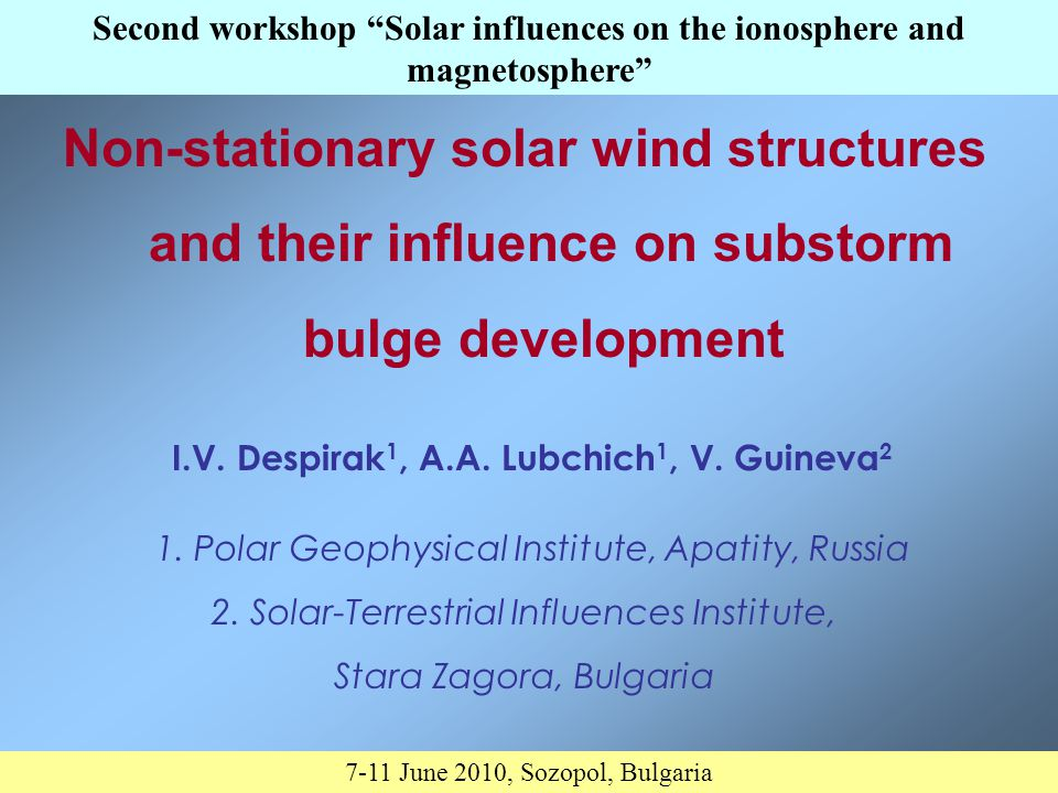 Introduction Solar wind streams, depending on the periods of solar activity, have different nature.