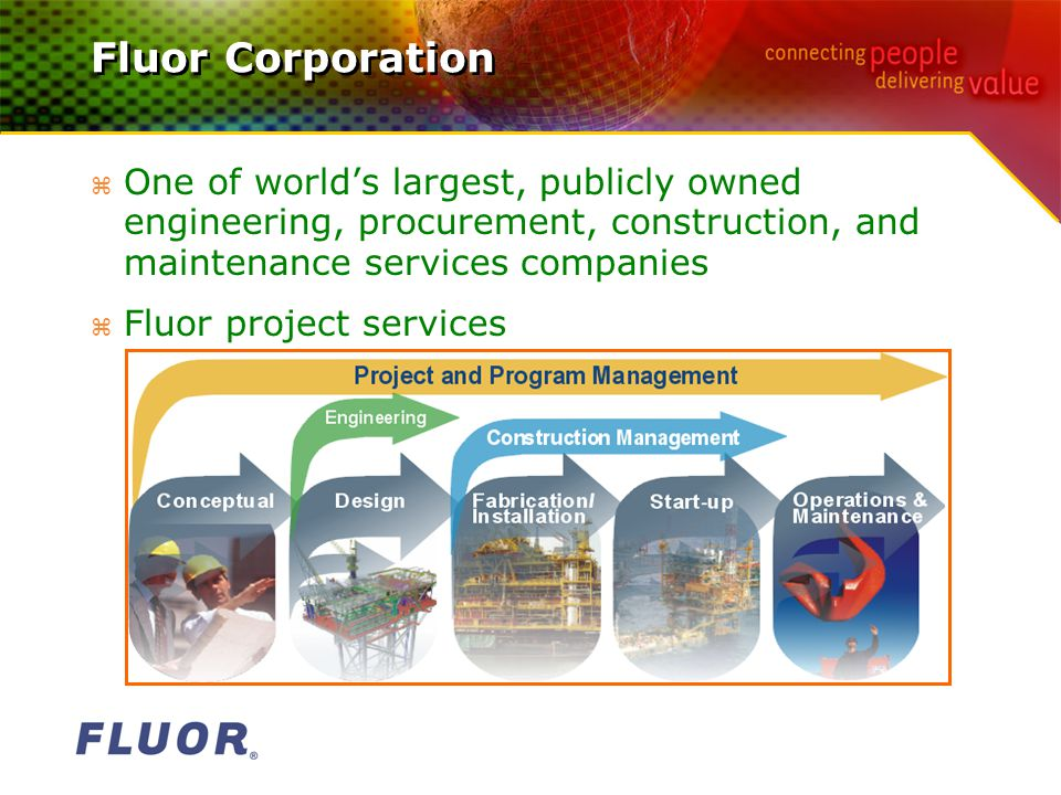 Fluor Corporation z One of world's largest, publicly owned engineering, procurement, construction, and maintenance services companies z Fluor project services