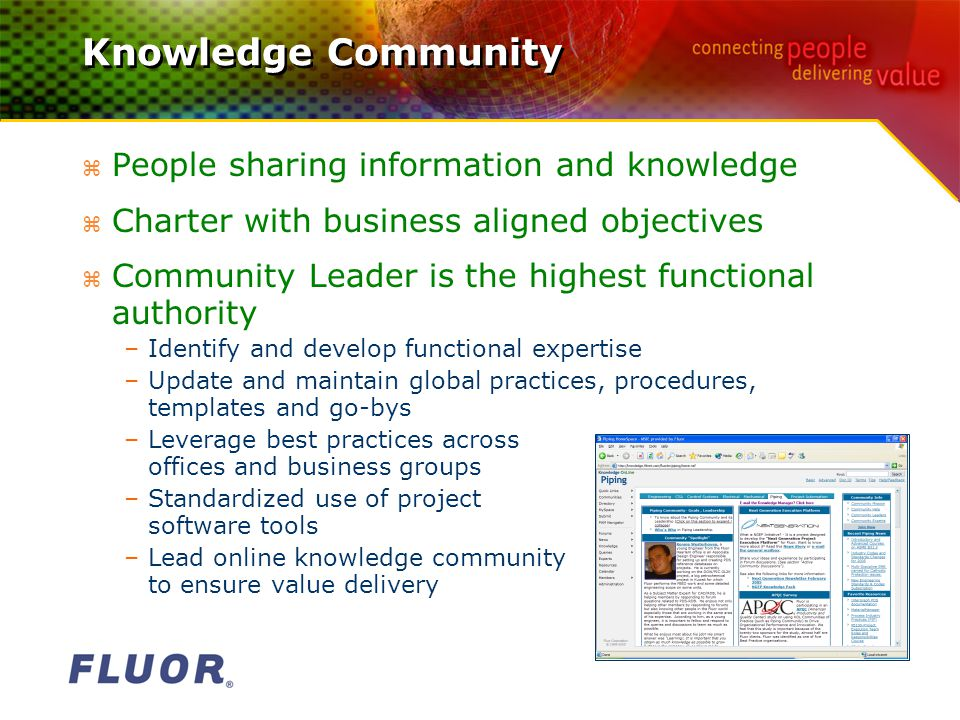 Knowledge Community z People sharing information and knowledge z Charter with business aligned objectives z Community Leader is the highest functional authority –Identify and develop functional expertise –Update and maintain global practices, procedures, templates and go-bys –Leverage best practices across offices and business groups –Standardized use of project software tools –Lead online knowledge community to ensure value delivery