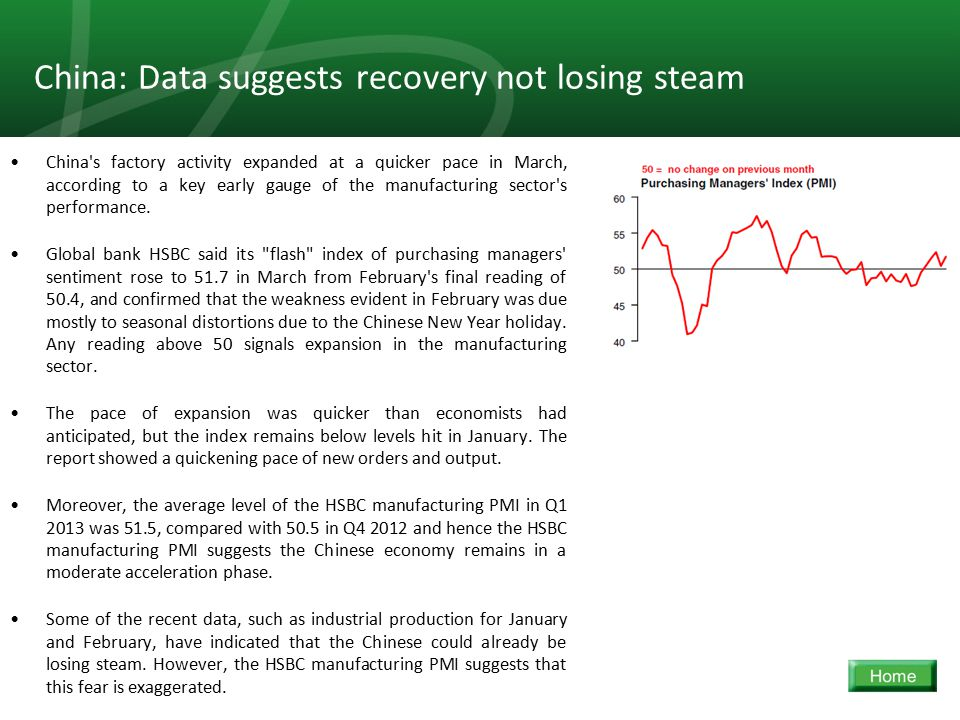 17 China: Data suggests recovery not losing steam China s factory activity expanded at a quicker pace in March, according to a key early gauge of the manufacturing sector s performance.