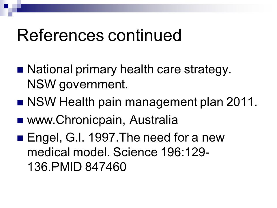 References continued National primary health care strategy.