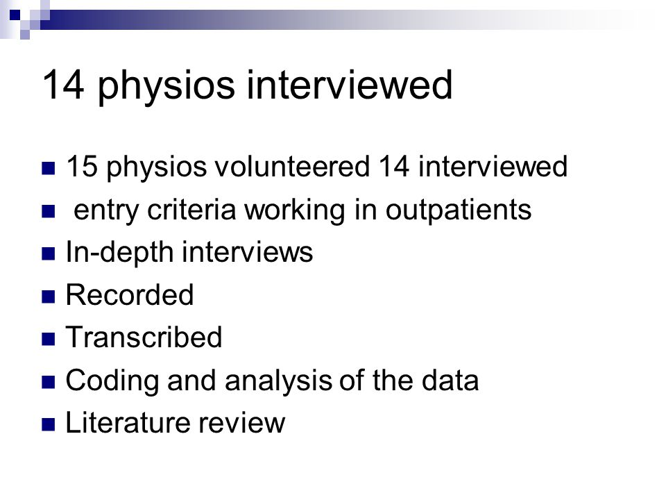 14 physios interviewed 15 physios volunteered 14 interviewed entry criteria working in outpatients In-depth interviews Recorded Transcribed Coding and analysis of the data Literature review