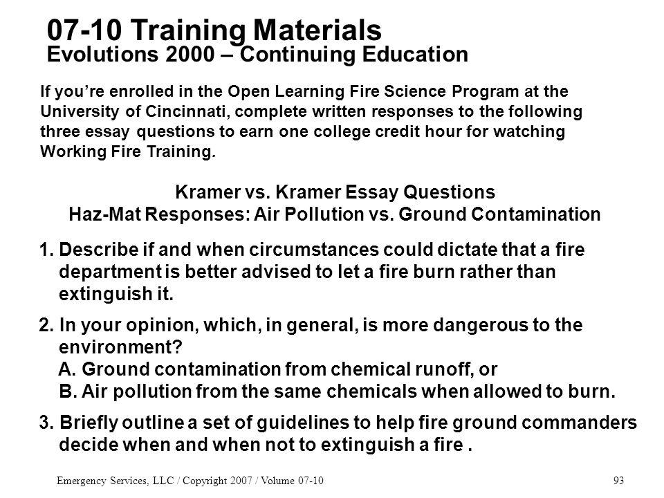 Emergency Services, LLC / Copyright 2007 / Volume 07-1093 Kramer vs.