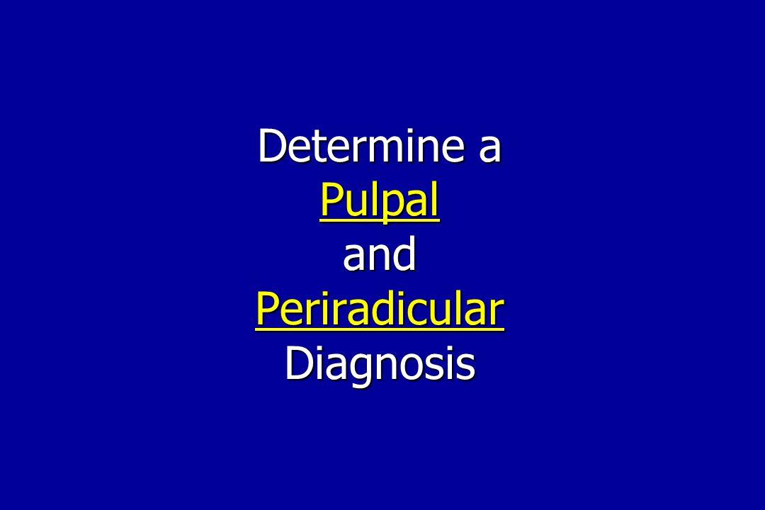 Determine a Pulpal and Periradicular Diagnosis
