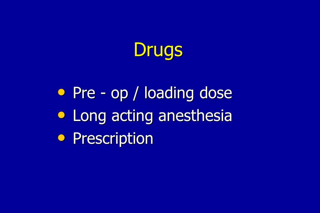 Pre - op / loading dose Pre - op / loading dose Long acting anesthesia Long acting anesthesia Prescription Prescription Drugs
