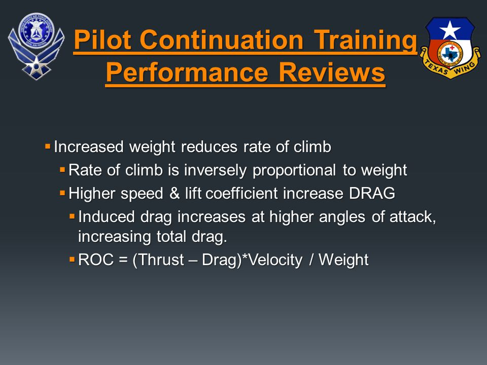  Increased weight reduces rate of climb  Rate of climb is inversely proportional to weight  Higher speed & lift coefficient increase DRAG  Induced