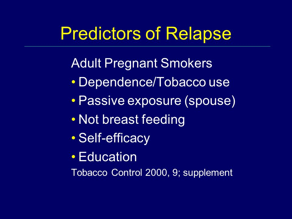 Predictors of Relapse Adult Pregnant Smokers Dependence/Tobacco use Passive exposure (spouse) Not breast feeding Self-efficacy Education Tobacco Contr