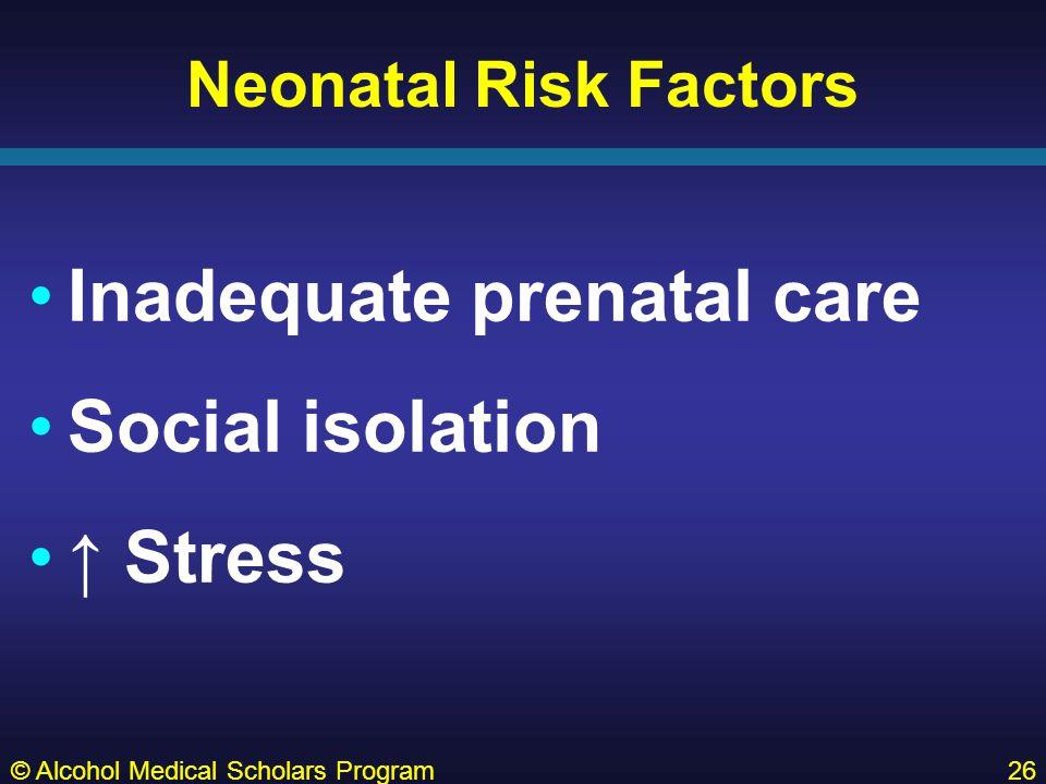 Neonatal Risk Factors Inadequate prenatal care Social isolation ↑ Stress © Alcohol Medical Scholars Program26
