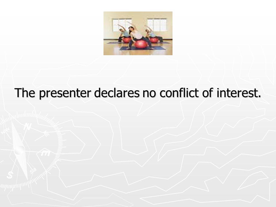 The presenter declares no conflict of interest.