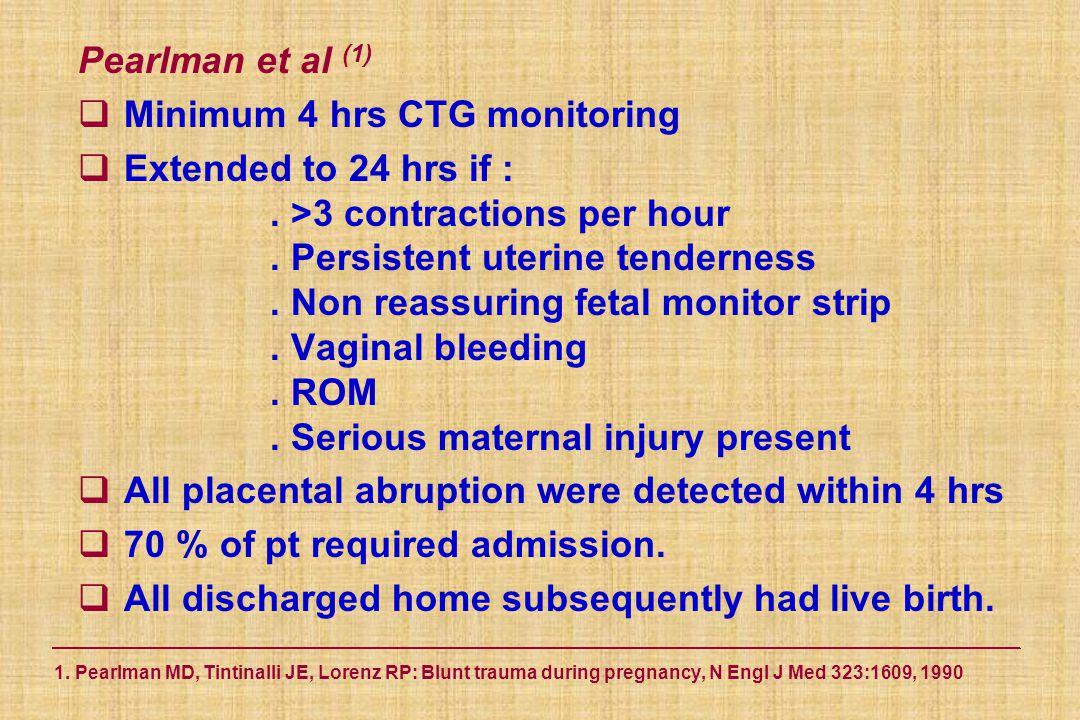 1. Pearlman MD, Tintinalli JE, Lorenz RP: Blunt trauma during pregnancy, N Engl J Med 323:1609, 1990 Pearlman et al (1)  Minimum 4 hrs CTG monitoring