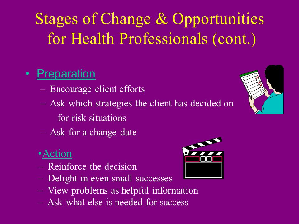Stages of Change & Opportunities for Health Professionals Pre-contemplation –Use relationship building skills –Personalize risk factors –Use teachable moments –Educate in small bits, repeatedly, over time Contemplation –Elicit reasons to change/consequences of not changing –Explore ambivalence; praise client for considering the difficulties of change –Question possible solutions for one barrier at a time –Pose advice gently as a solution (Zimmerman, Olsen, Bosworth, 2000) Contemplation