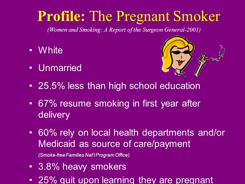 25% of women use tobacco during pregnancy (health dept.