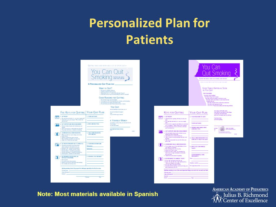 Personalized Plan for Patients Note: Most materials available in Spanish