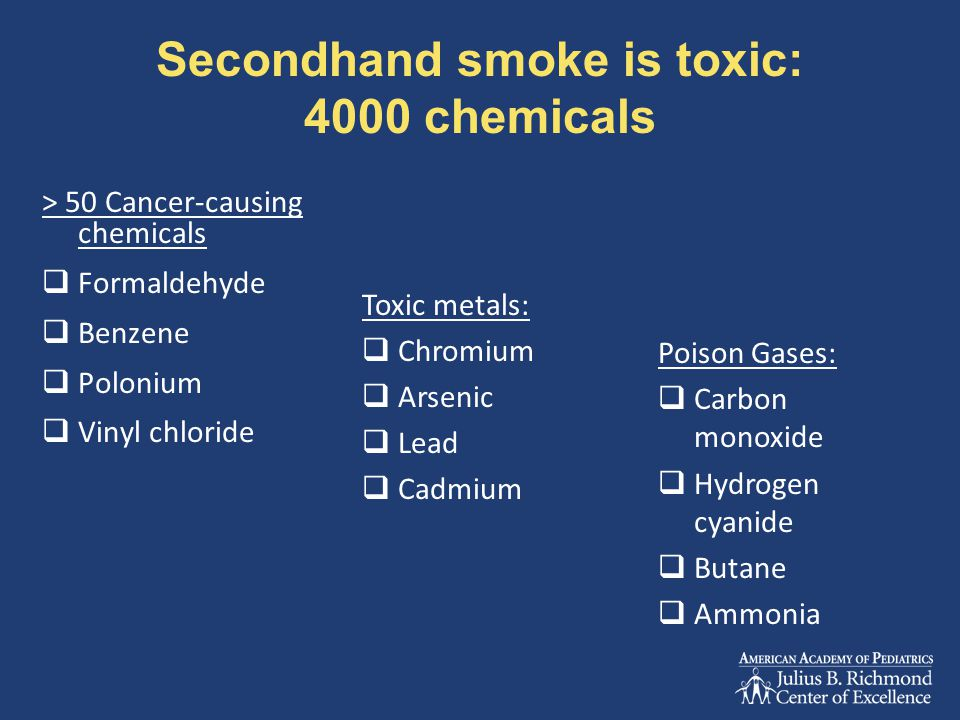 Secondhand smoke is toxic: 4000 chemicals > 50 Cancer-causing chemicals  Formaldehyde  Benzene  Polonium  Vinyl chloride Toxic metals:  Chromium