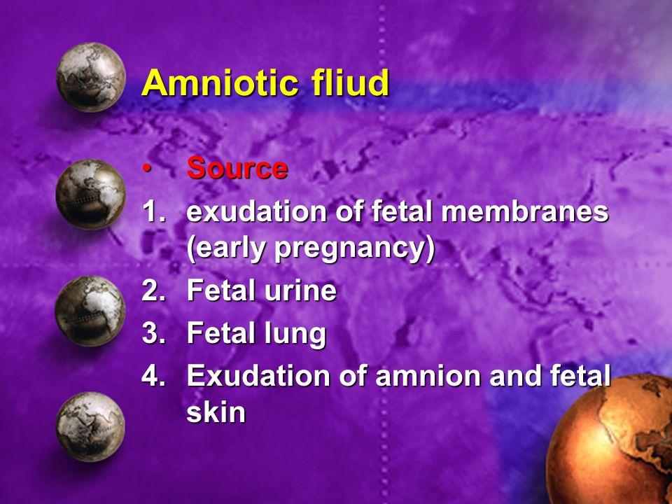 Amniotic fliud SourceSource 1.exudation of fetal membranes (early pregnancy) 2.Fetal urine 3.Fetal lung 4.Exudation of amnion and fetal skin