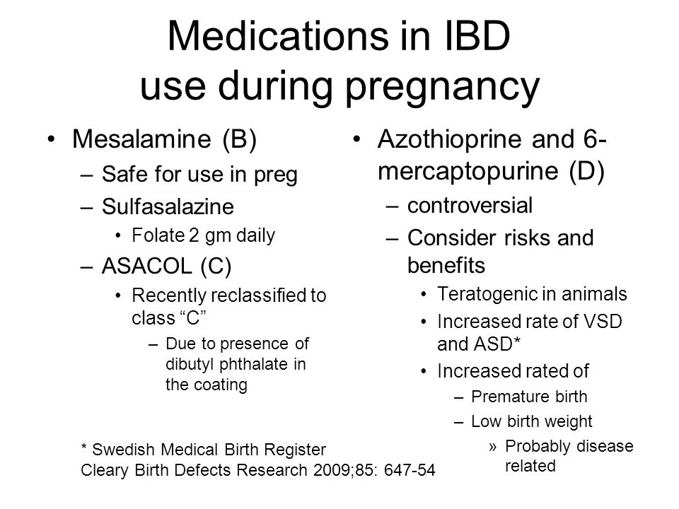 Medications in IBD use during pregnancy Mesalamine (B) –Safe for use in preg –Sulfasalazine Folate 2 gm daily –ASACOL (C) Recently reclassified to cla