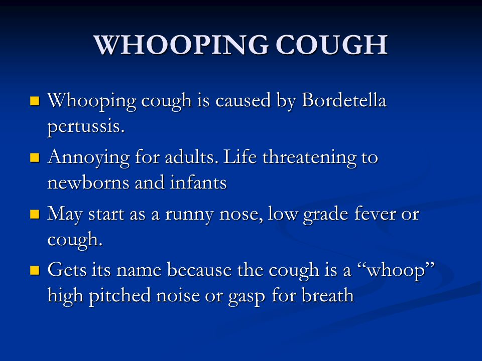 WHOOPING COUGH Whooping cough is caused by Bordetella pertussis.