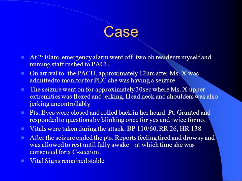Case continue FHT: 140s  120s During seizure episode Returned to baseline 140s after seizure Toco: Q15-20mins
