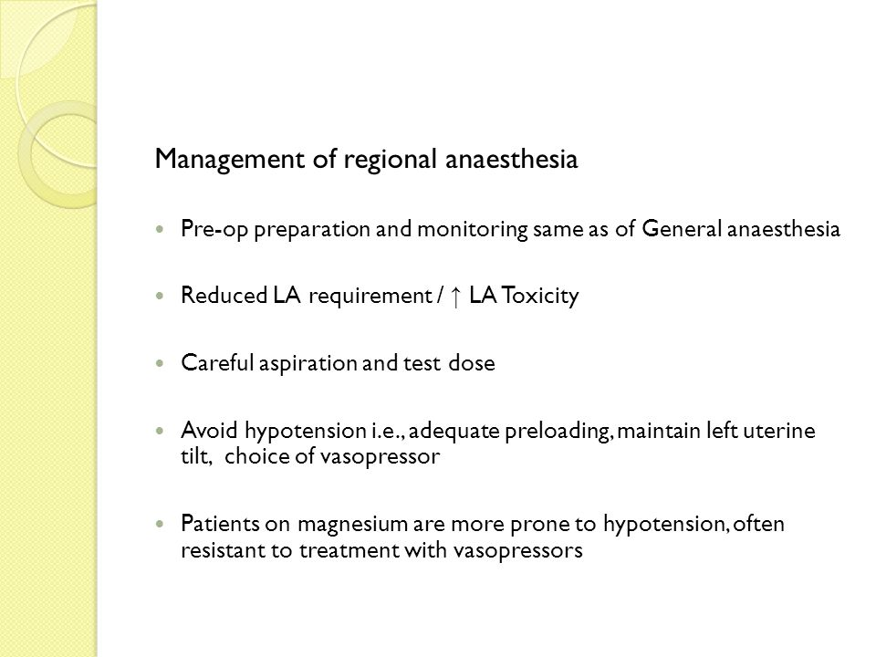 Management of regional anaesthesia Pre-op preparation and monitoring same as of General anaesthesia Reduced LA requirement / ↑ LA Toxicity Careful asp