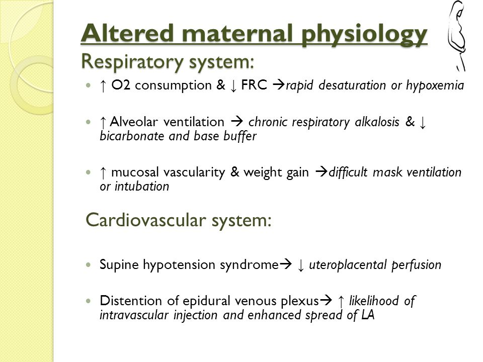 Altered maternal physiology Hematological changes ↑ Blood volume with lesser increase in RBCs volume  dilutional anemia ↑ Factor I, VII, VIII, X, XII & FDP  Increased risk of thromboembolic complications Benign leukocytosis  difficult to differentiate from infection Gastrointestinal system changes ↓ LES tone, distortion of gastropyloric anatomy & ↑ gastric pressure from gravid uterus  risk of regurgitation and aspiration