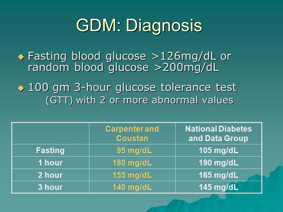GDM: Diagnosis  Fasting blood glucose>126mg/dL or random blood glucose >200mg/dL  Fasting blood glucose >126mg/dL or random blood glucose >200mg/dL